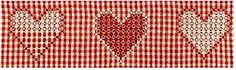 Alternating hearts, perhaps between to stripes, or connected by smaller hearts.