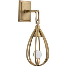 Windsor Smith for Arteriors Athena Brass Wall Sconce ($540) ❤ liked on Polyvore featuring home, lighting, wall lights, polished brass lamps, sphere lighting, teardrop lights, brass wall lights and polished brass sconces