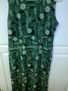 R&K Originals Petite Vintage 1980s Size 12P Green Floral Sundress Dress…