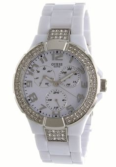 Guess Women'S White Plastic Band And Case Gem Accents Watch Stainless Steel Case, Fashion Watches, Michael Kors Watch, Chronograph, Quartz, Gems, Band, Plastic, Bracelets