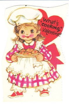 Vintage Valentine Card Chef Girl with Cookies-cute!