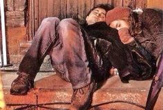 Daniel and Emma asleep on set behind the scenes of Harry Potter.