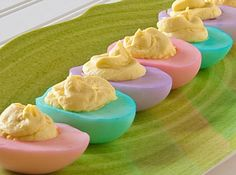 Here is a fun way to include deviled eggs, another Easter tradition, on your Easter menu. If your concerned that the eggs will taste like vinegar, no need to worry the eggs will have about the same taste of vinegar as you would if you had dyed them in their shell.