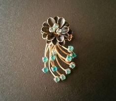 Vintage Riveted Brooch Layered Flower Brooch Prong Set