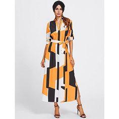 Nouveauté : robe chemisier au patchwork de couleurs idéale avec un  hijab ! Les manches longues sont amovibles. Disponible dès maintenant sur ynes-boutique.com