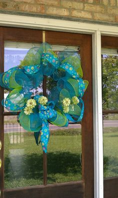 Spring Deco Mesh Wreath in Bright Blues and Greens!