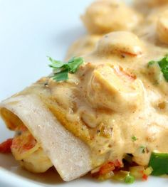 Creamy Cajun Shrimp Enchiladas - This creamy shrimp sauce is also delicious served over pasta or steamed rice.