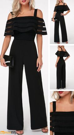 Strappy Cold Shoulder Overlay Embellished Black Jumpsuit On Sale At Modlily., Strappy Cold Shoulder Overlay Embellished Black Jumpsuit On Sale At Modlily. Fashion outfit, simple and special, popular and hot sale. It is time to e. Outfit Chic, Jumpsuit Outfit, Black Jumpsuit, Formal Dress Patterns, Dress Sewing Patterns, Mode Outfits, Fashion Outfits, Womens Fashion, Embellished Jumpsuit