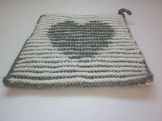 Tawashi / Eponge lavable - Coeur en illusion d'optique - Gris / blanc : Cuisine et service de table par boogiewoolly