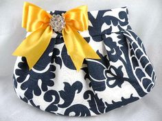 Pleated Clutch  Evening Bag  Purse  Wedding  Bridesmaid  AMSTERDAM  Navy and White with Sunflower Yellow-Gold Satin Bow and Crystal by ocstylescreations on Etsy https://www.etsy.com/listing/81769580/pleated-clutch-evening-bag-purse-wedding