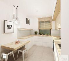 Aranżacje wnętrz - Kuchnia: Projekt mieszkania 53 m2 na Żoliborzu - Mała wąska kuchnia w kształcie litery u, styl nowoczesny - 4ma projekt.…