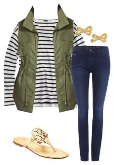 """""""fall back to school ; love this vest"""" by shannonflah ❤ liked on Polyvore featuring J.Crew, Pleione, Calvin Klein, Tory Burch and Kate Spade"""