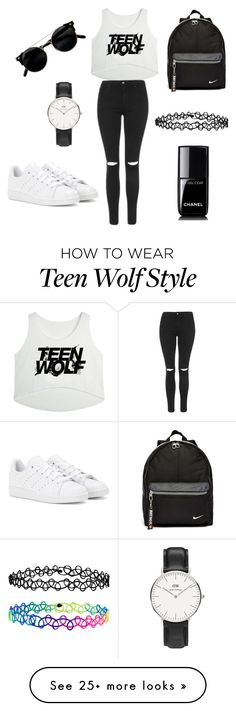 """""""#teenwolf"""" by yasminehannaoui on Polyvore featuring Topshop, adidas, NIKE, Daniel Wellington, Accessorize and Chanel"""