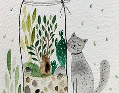 """Check out new work on my @Behance portfolio: """"Cats love plants"""" http://be.net/gallery/63149867/Cats-love-plants"""