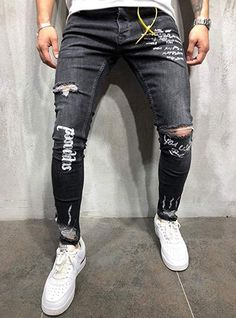 Men s Ripped Skinny Distressed Destroyed Straight Fit Side Striped Zipper  Jeans with Holes  jeans  . Streetwear ... d992adee0