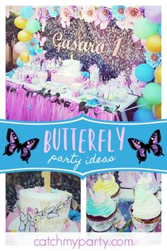 Dont Miss This Stunning Floral Butterfly 1st Birthday Party The Cake Pops