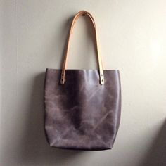 Distressed Gray Leather Handmade Tote • Beautiful Grey Leather Bag by Hatton Henry