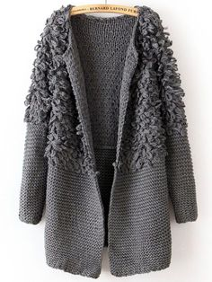 Simple Round Collar Solid Color Terry Long Sleeves Loose-Fitting Cardigans For W. - Men's style, accessories, mens fashion trends 2020 Knitwear Fashion, Knit Fashion, Handgestrickte Pullover, Terry Long, Cardigans For Women, Women's Cardigans, Knit Cardigan, Grey Cardigan, Wool Coat