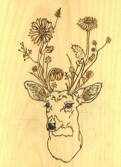 Deer with flower antlers