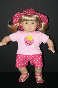 AMERICAN GIRL Bitty Baby 15 Doll Pink Polka Shorts by weeline, $19.50