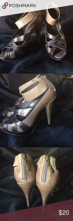 ALDO Ankle Strap Peep-toe High Heels Color is somewhat of a tan and copper-grey metallic for the crisscross part. Very cute and comfy. Good condition, a lot of wear left in them! Aldo Shoes Heels