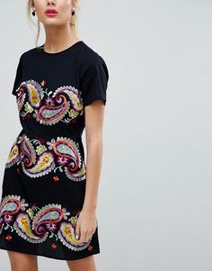 9b517471246b4 PREMIUM Paisley Embroidered Mini Dress