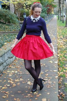 Holiday Party Style | Party Style | PartySkirts | Peter Pan Collar | A-Line Skirt