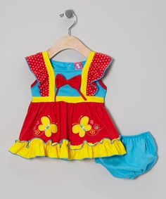 Take a look at this Red & Blue Angel-Sleeve Dress & Diaper Cover - Infant & Toddler on zulily today!