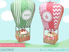Pretty in Pink and Green Hot Air balloon printable kit. This adorable treat box set fits favors, candy and 1.75 diameter MINI cupcakes in the bottom basket and you can also fill up the balloon with wrapped candies too! Perfect as a party table centerpiece, you can display them hanging from the ceiling or standing on the table.  VIDEO TUTORIAL: learn how to assemble this kit before you buy! watch a video here: tinyurl.com/hotairballoonvideo  Its easy to adjust the text on the included bal...