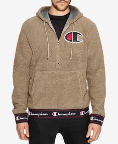 Champion Men's Half-zip Sherpa Pullover Hoodie In Khaki Hoodie Outfit, Hoodie Jacket, Champion Clothing, Mens Sherpa, Unique Hoodies, Champion Sweatshirt, Mens Sweatshirts, T Shirts, Streetwear