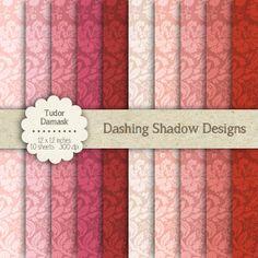 "Tudor Damask in Pink Shades - 12 x 12"" Digital Scrapbook Paper Pack - Commercial…"