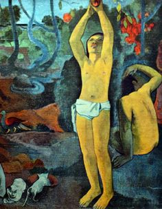 Paul Gauguin - Post Impressionism - Tahiti - Where do we come from? What are we? - D'où venons-nous? Que sommes-nous? - Detail - 1898