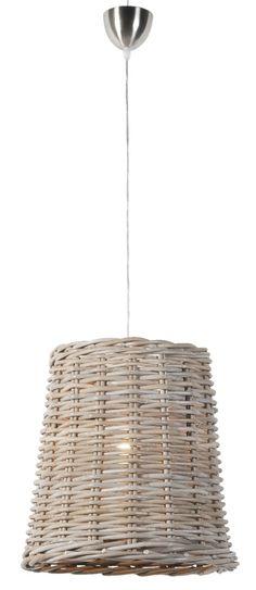 Kap hanglamp Harry: stoere rotan lamp in antiekgrijs. Verlichting in de woonkamer of boven de eettafel.