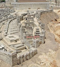 The Biblical CITY OF DAVID in the period of Herod's Temple, from the Holyland Model of Jerusalem. The southern wall of the Temple Mount appears at top