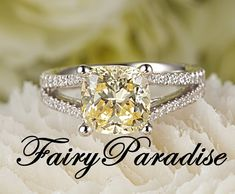 Ct Cushion Cut Fancy Yellow Lab Created diamond Split Shank Solitaire Engagement Wedding Promise Ring - made to order ( FairyParadise ) Yellow Diamond Engagement Ring, Split Shank Engagement Rings, Yellow Diamond Rings, Cushion Cut Engagement Ring, Solitaire Engagement, Man Made Diamonds, Lab Created Diamonds, Lab Diamonds, Silver Promise Rings