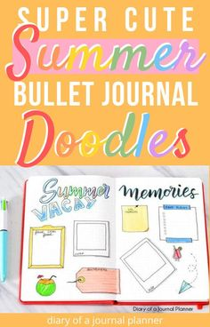 Make your summer bullet journal spread look super cute with these clever and creative summer doodle tutorials and guides! #doodletutorial #bulletjournaldoodles #summerdoodles #howtodoodle #howtodraw #bujodoodles Easy Doodles Drawings, Easy Doodle Art, Cool Doodles, Simple Doodles, Doodle Ideas, Bullet Journal Travel, Bullet Journal Layout, Bullet Journals, Happy Birthday Doodles