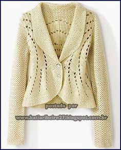 beautiful cream crochet jacket/cardigan with eyelet details Crochet Bolero, Gilet Crochet, Crochet Cardigan Pattern, Knit Or Crochet, Crochet Stitches, Sweater Patterns, Crochet Sweaters, Crochet Patterns, Mode Crochet