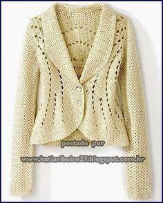 Casaqueto em crochê com gráfico e passo a passo - Katia Ribeiro Crochê Moda e Decoração Handmade