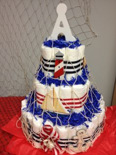 nautical diaper cakes for boys Boat Diaper Cake, Nautical Diaper Cakes, Nautical Baby, Nautical Theme, Baby Shower Diapers, Baby Shower Cakes, Baby Shower Themes, Baby Shower Gifts, Shower Ideas