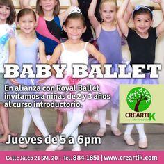 Y para tus pequeñas de 2 a 3 años, tenemos en Creartik Cancún en alianza con Royal ballet, el curso de Baby Ballet.    Todos los jueves de 5-6pm