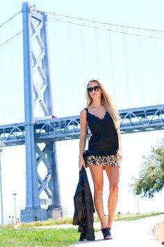 Kier Mellour in leopard at the bay bridge
