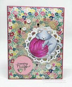 Cat and Yarn Card by Danielle Paneline  | Newton Unwinds Stamp Set & Die Set by Newton's Nook Designs #newtonsnook
