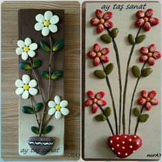 Put on roof tile - Jean Uan Stone Crafts, Rock Crafts, Diy Home Crafts, Garden Crafts, Crafts To Do, Crafts For Kids, Arts And Crafts, Caillou Roche, Rock Flowers