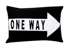 One way - black & white pillow