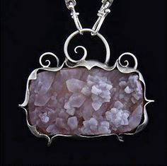 Amy Buettner - Druzy quartz Crystals and Sterling Necklace Stone Jewelry, Crystal Jewelry, Metal Jewelry, Pendant Jewelry, Silver Jewelry, Silver Pendants, Gothic Jewelry, Silver Earrings, Jewelry Necklaces