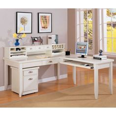 Tribeca Loft L Shaped Writing Desk With Return And Hutch By Kathy Ireland Home