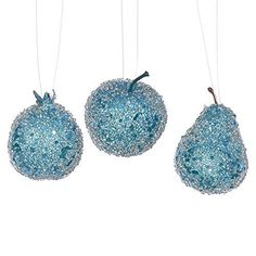 Felices Pascuas Collection 3ct Turquoise Blue Beaded Sequin and Glitter Pear Apple and Pomegranate Fruit Christmas Ornaments