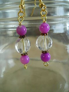 Bridal Lavender Lilac Shell Earrings Copper and Crystal Accents by chicagolandia, $12.00