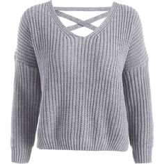 Back Lace Up V Neck Pullover Sweater Gray ($22) ❤ liked on Polyvore featuring tops, sweaters, gray pullover sweater, grey pullover, v neck sweater, v-neck sweater and gray top