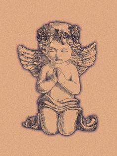 Tatoo Angel, Small Angel Tattoo, Angel Tattoo For Women, Cupid Tattoo, Dope Tattoos For Women, Shoulder Tattoos For Women, Sleeve Tattoos For Women, Small Guardian Angel Tattoos, Angel Tattoo Drawings